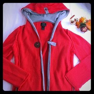 Hoodie  sweater Cardigan s/m 100% cotton knit oran